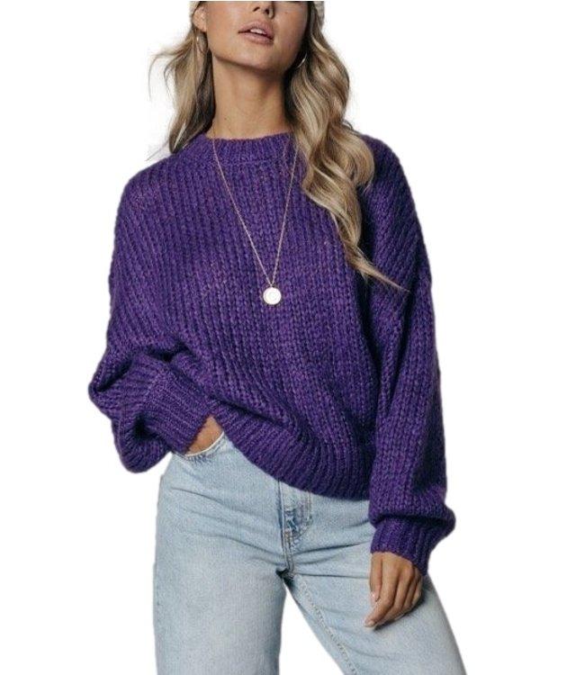 Colorful Rebel Olivia Crew Neck Sweater Medium Purple - 11267
