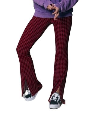 Colourful Rebel Darcy Dogtooth Slit Flare Pants Warm Red