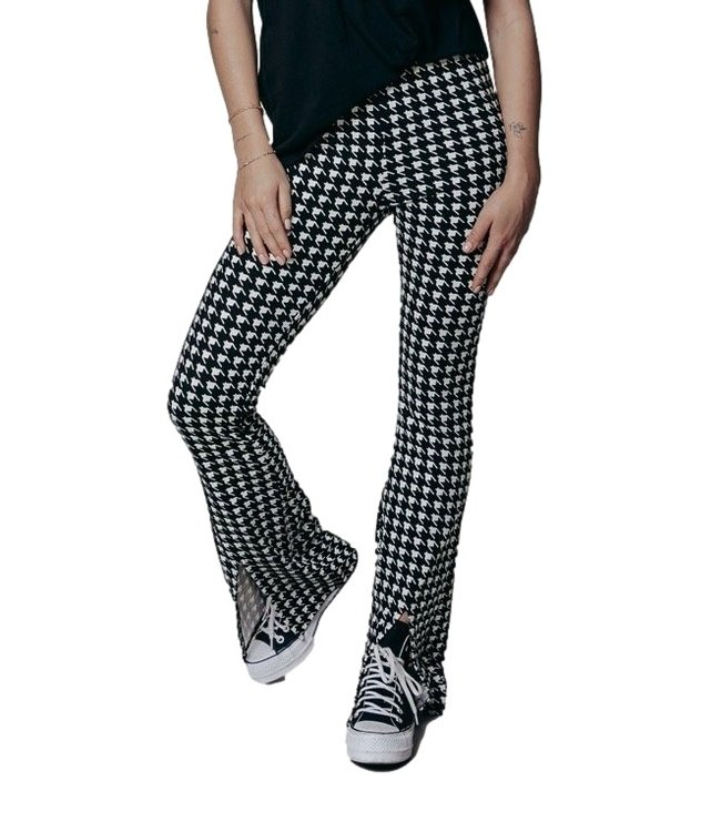 Colorful Rebel Darcy Dogtooth Slit Flare Pants Black White