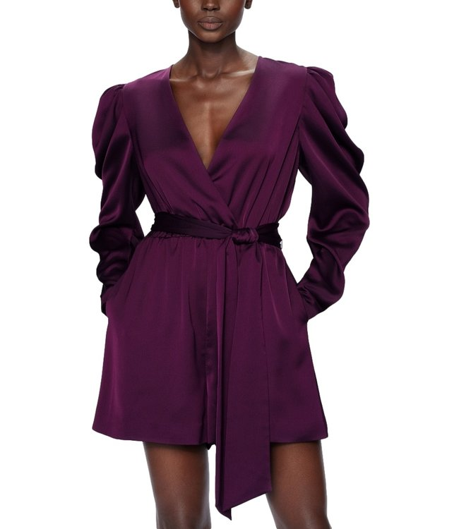 Ted Baker Liannii  Wrap Front Playsuit With Puffed Sleeve Deep Purple