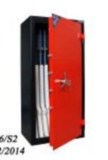 1006 Szafa na broń długą S2 ze skarbczykiem i półką na amunicję/dokumenty
