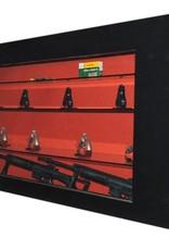 1724  Pozioma witryna na broń z 2 szybami kuloodpornymi i szklanymi półkami