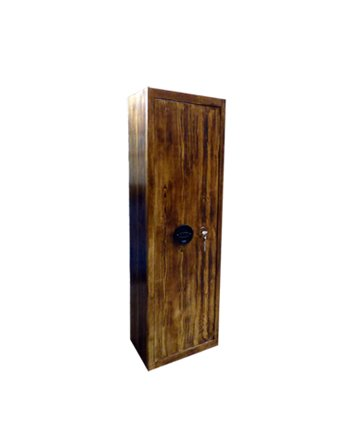 1624/28 Szafa na broń długą i krótką w kolorze drewna, ze skarbczykiem i półką