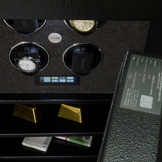 BK 80 Sejf na zegarki z półkami na gotówkę lub rzeczy wartościowe