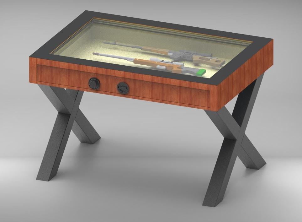 2000 Stół Pantzerglass z szufladą na broń, kosztowności