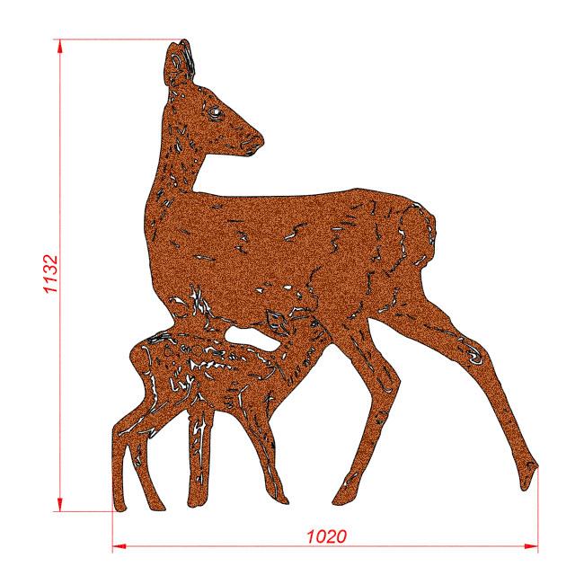 2033 Sarna z koziołkiem. Figura ogrodowa z blachy Corten