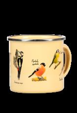 Kubek emaliowany z ptakami