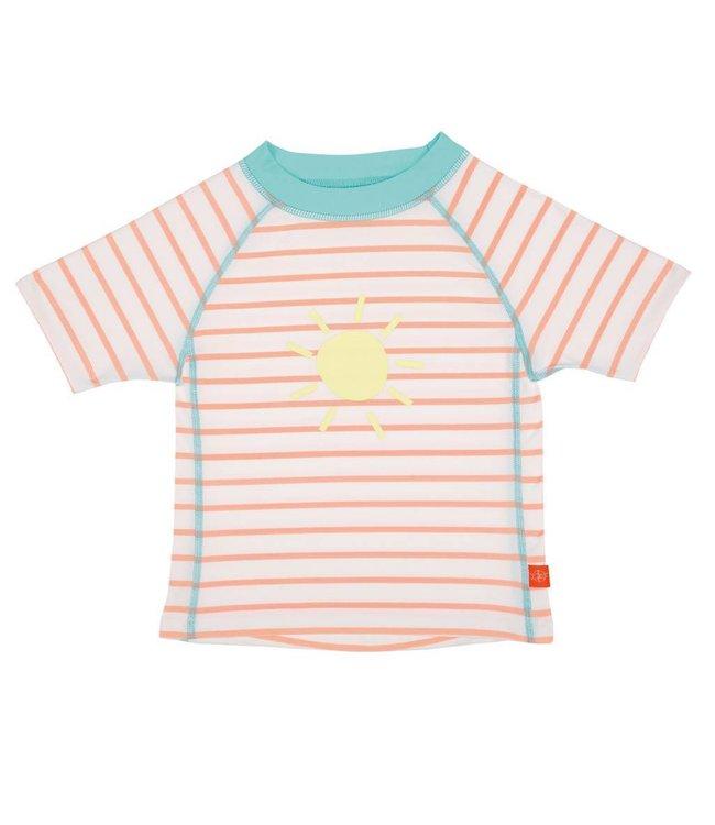 UV shirt perzikkleur licht blauw gestreept zon korte mouw meisje - Lässig