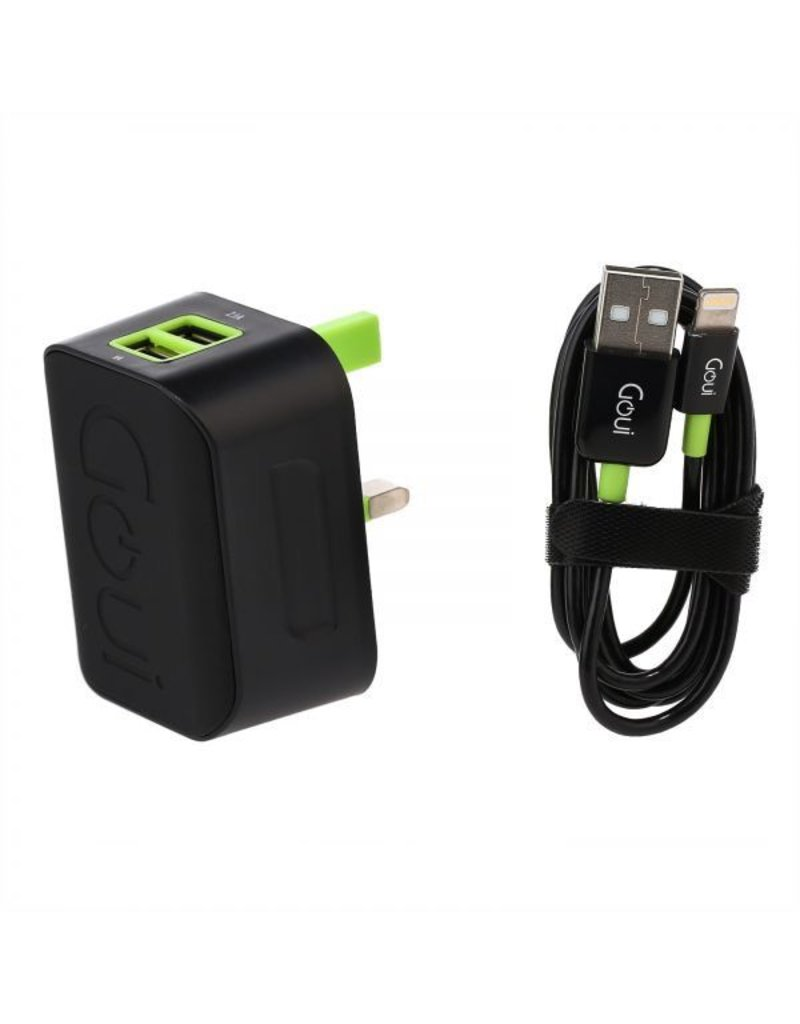Goui Goui Wall Charger With Lighting Cable 2USB Output 3.1A - Black