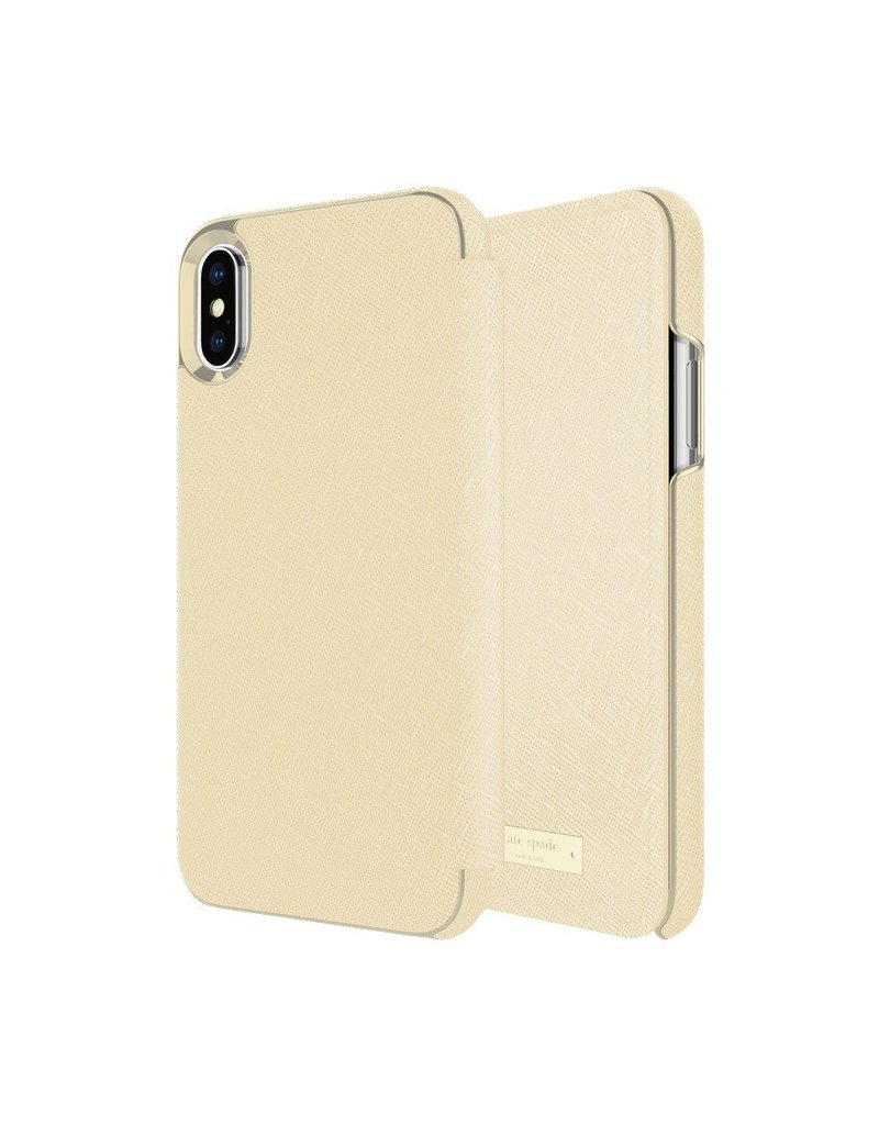 Incipio INCIPIO APPLE IPHONE X KATE SPADE NEW YORK FOLIO CASE - SAFFIANO GOLD/GOLD LOGO PLATE
