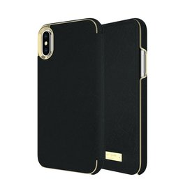 Incipio INCIPIO APPLE IPHONE X KATE SPADE NEW YORK FOLIO CASE - SAFFIANO BLACK/GOLD LOGO PLATE
