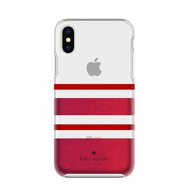 Incipio INCIPIO APPLE IPHONE X KATE SPADE NEW YORK PROTECTIVE HARDSHELL CASE - CHARLOTTE STRIPE RED (RED/RED GLITTER)