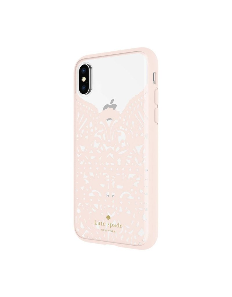 Incipio INCIPIO APPLE IPHONE X KATE SPADE NEW YORK LACE CAGE CASE - LACE HUMMINGBIRD BLUSH AND CLEAR