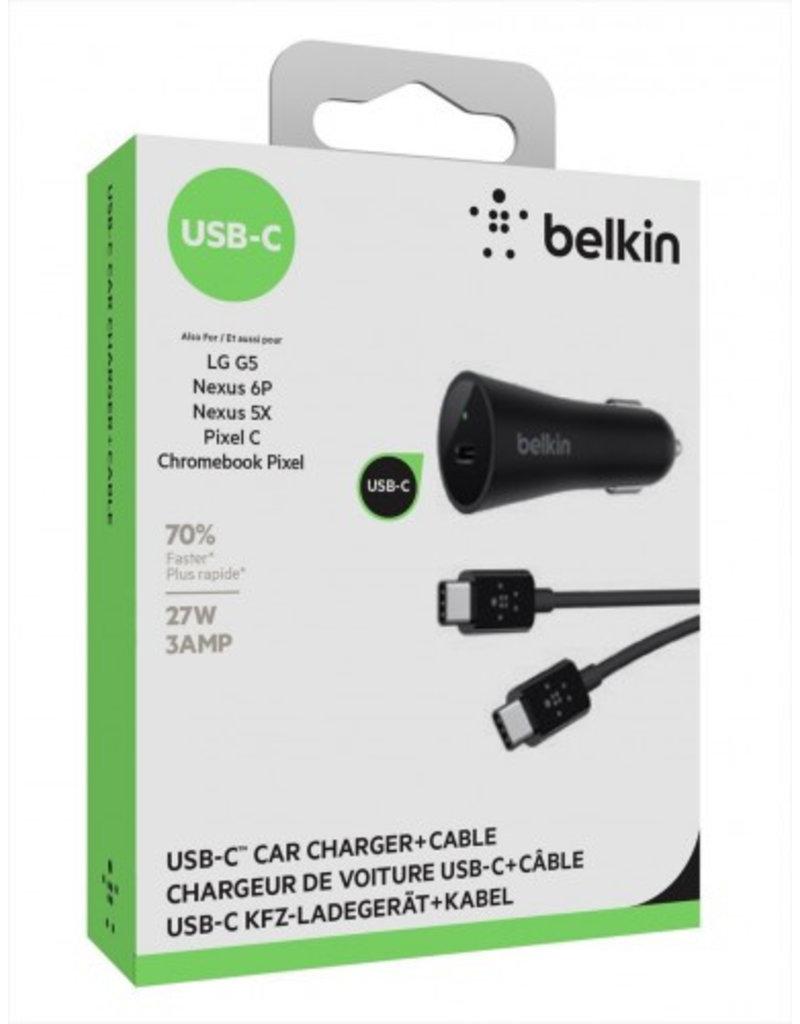 Belkin Belkin USB-C Car Charger + USB-C Cable 15W - Black