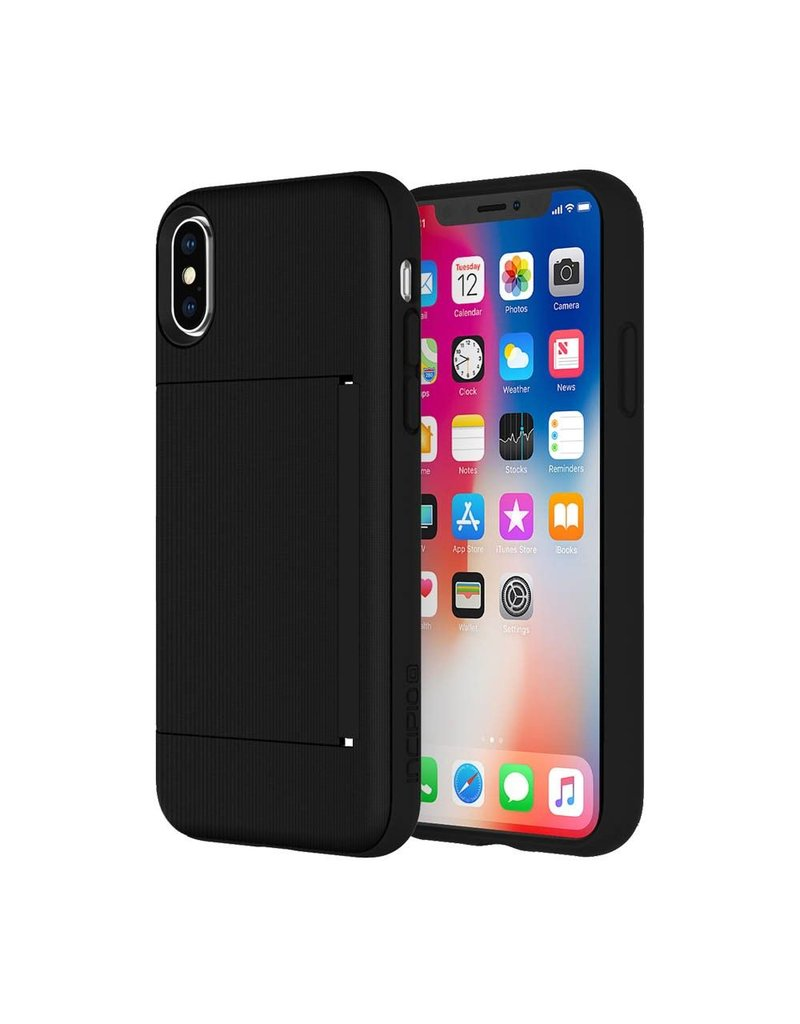 Incipio INCIPIO STOWAWAY CREDIT CARD CASE WITH INTEGRATED STAND FOR IPHONE X/Xs - BLACK