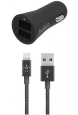 Belkin BELKIN BOOSTUP 24W/4.8A DUAL CAR CHARGER WITH LIGHTNING CABLE - BLACK
