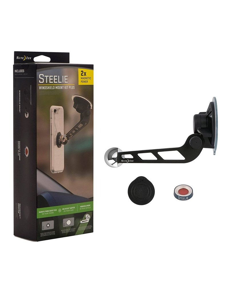 Nite Ize Nite Ize Steelie Windshield Mount Kit Plus includes Removable Resuable Adhesive Magnet - Silver and Black
