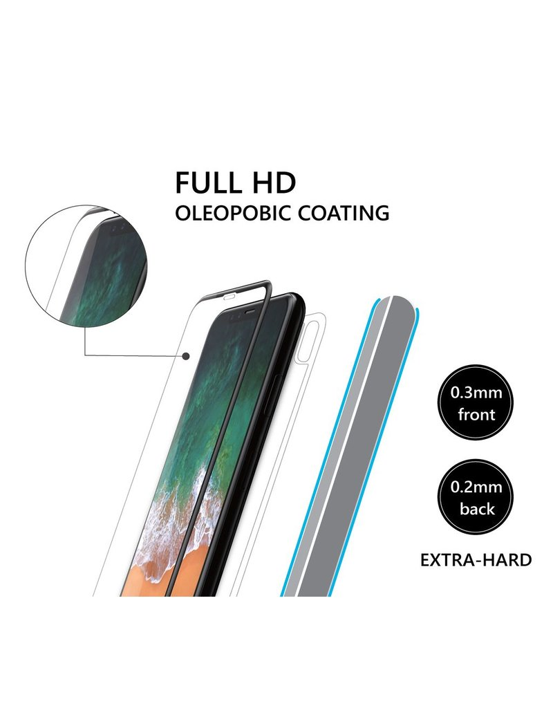 AMAZINGthing AT IPHONE X FULLY COVERED SUPREME GLASS FRONT, BACK & LENS SET (WHITE)
