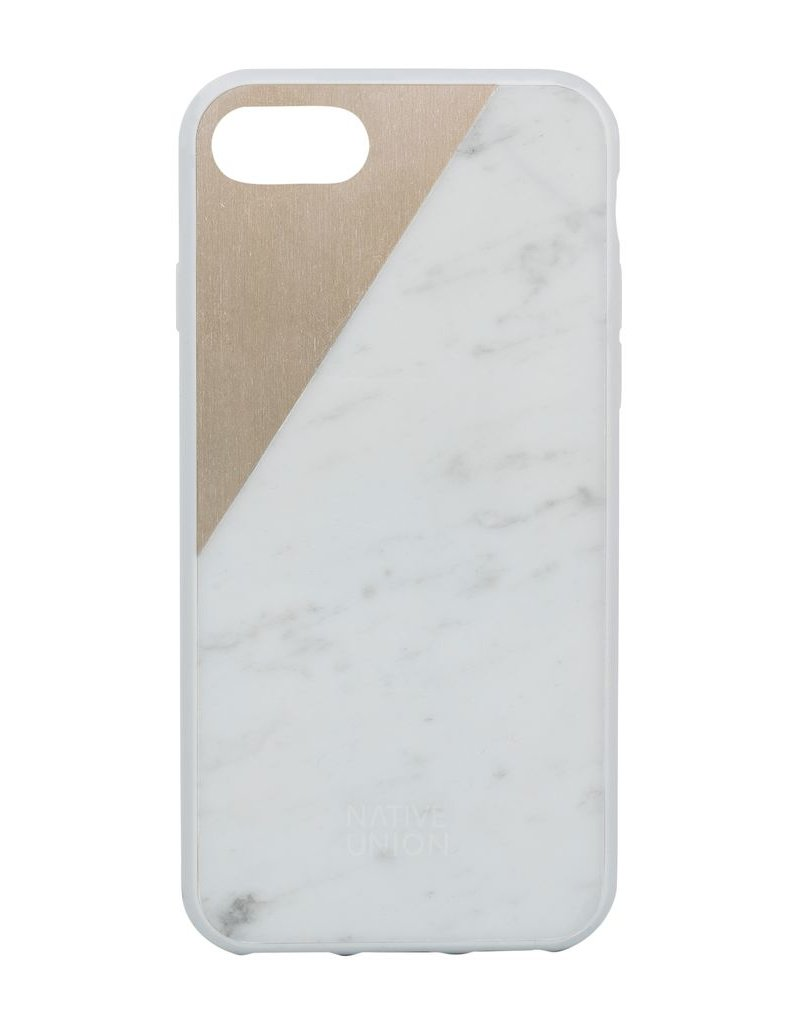 Native Union Native Union Clic Marble Metal Case For iPhone 7/8/SE - White/Gold