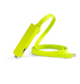 TYLT TYLT 4.8A CAR CHARGER WITH LIGHTNING FLAT RIBBON CABLE - GREEN