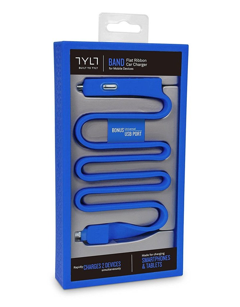 TYLT TYLT BAND 2.1A CAR CHARGER WITH MICRO USB CABLE - BLUE