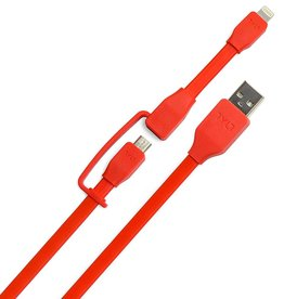 TYLT TYLT SYNC CABLE-DUO LIGHTNING+ MICRO USB - RED