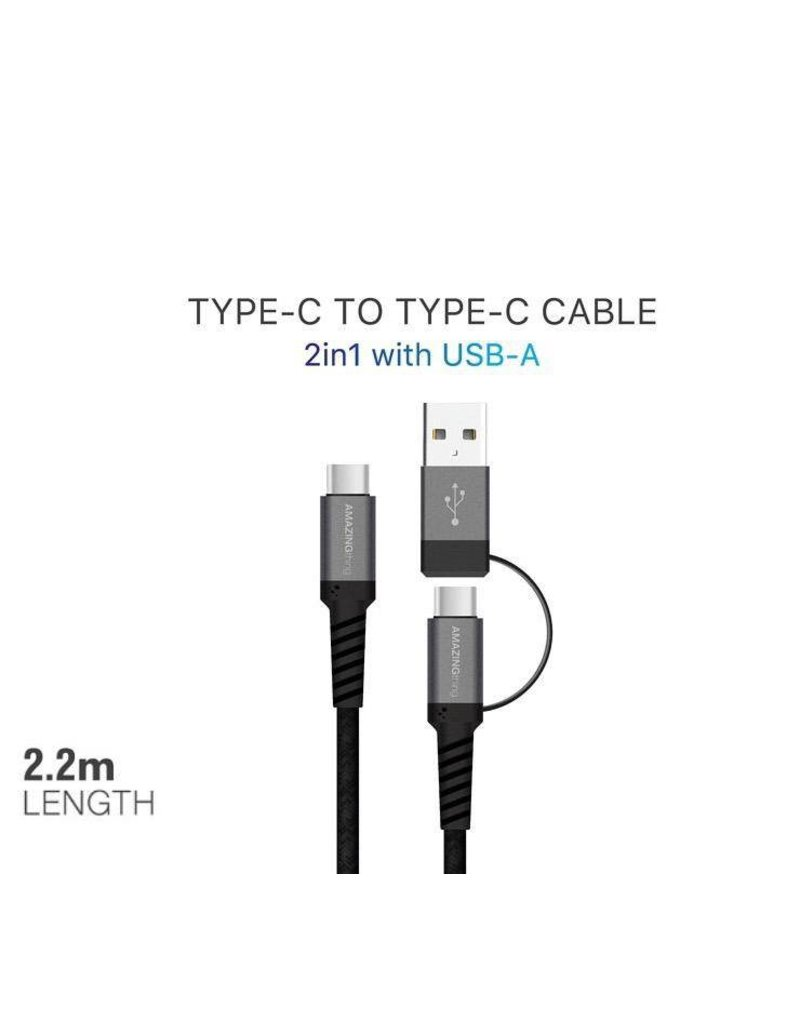AMAZINGthing AMAZINGthing SupremeLink Type-C to Type-C Cable 2 in 1 with USB-A 5A/100W 2.2m - Black