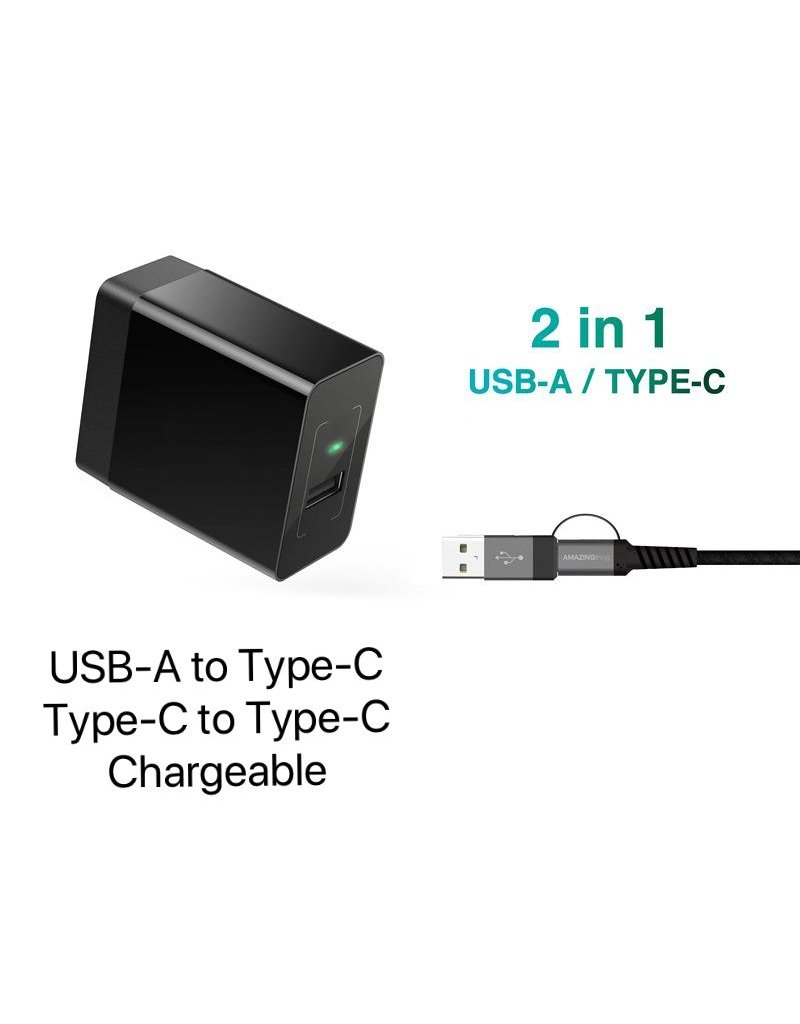 AMAZINGthing AT SupremeLink Type-C to Type-C Cable 2 in 1 with USB-A 5A/100W 1.2m - Black