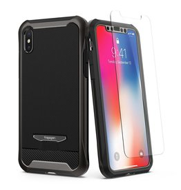 Spigen Spigen Reventon Case with Included Glass Screen Protector for Apple iPhone X - Gunmetal