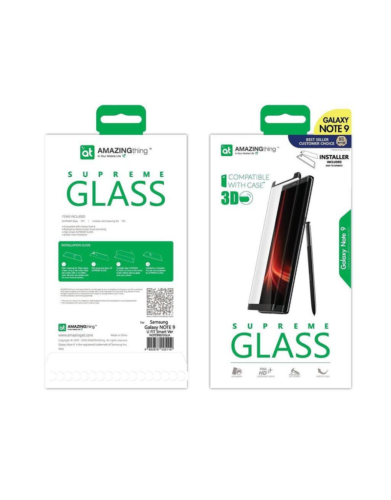 AMAZINGthing AT SAMSUNG NOTE 9 U FIT SMART 0.3MM SUPREME GLASS (BLACK)