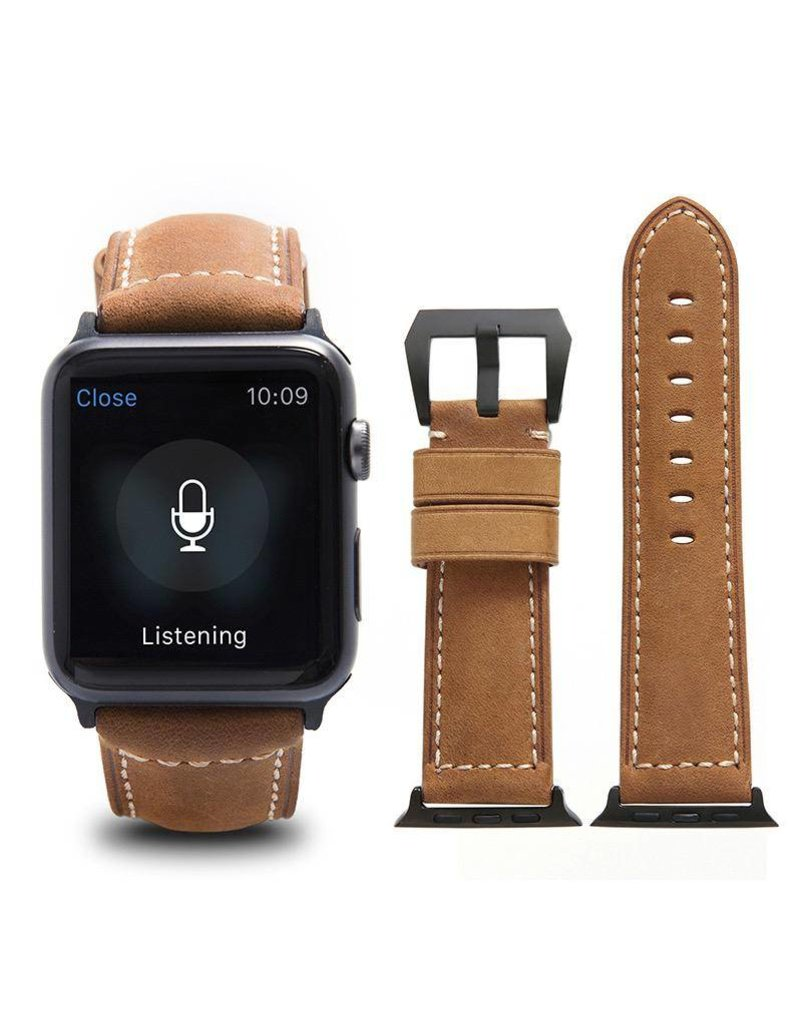 Bull Strap Bull Strap Genuine Bold Leather Strap for Apple Watch 44/42mm - Classic/Silver