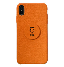Ullu Ullu Hand Crafted Premium Leather Poppy Grip and Stand Case for iPhone Xs Max - Tangerine