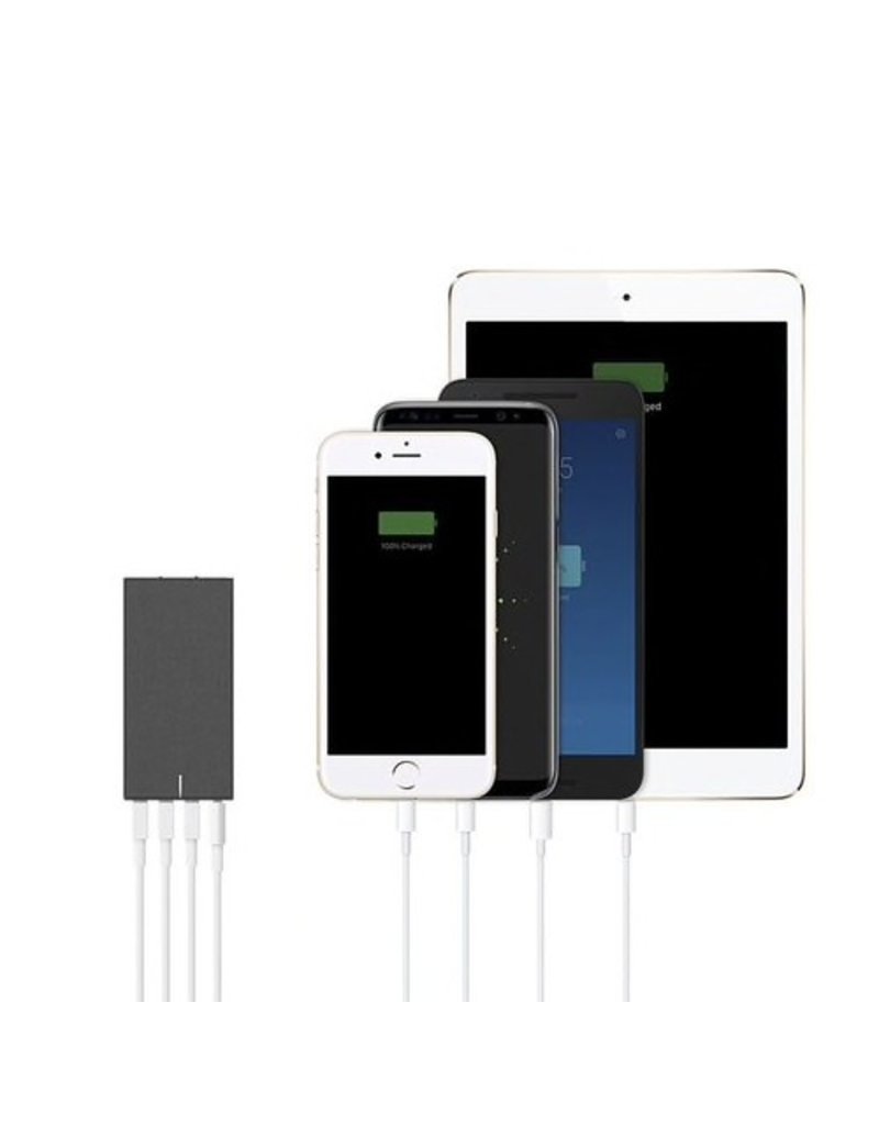 Native Union Native Union Smart Wall Charger 4-Port (3,USB-A 1,USB-C) With International Adapters - Slate Gray Fabric