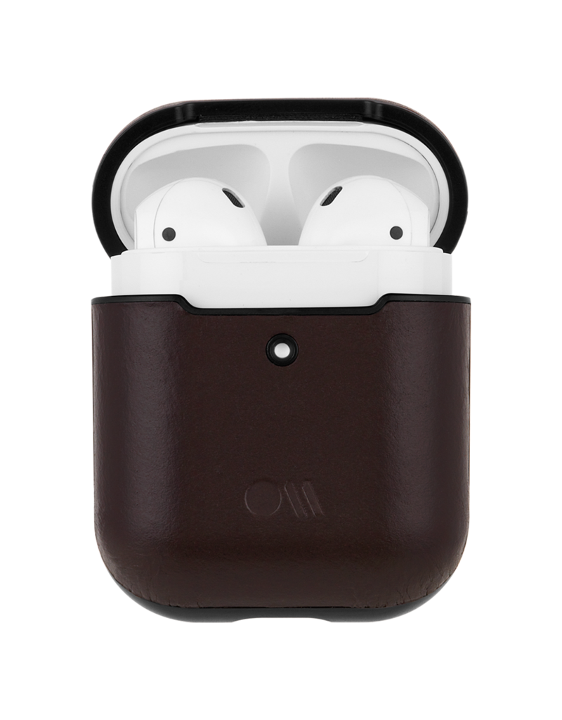 Case Mate Case Mate Hook Ups Leather Apple Airpod 1/2 Case and Neck Strap - Tobacco Brown