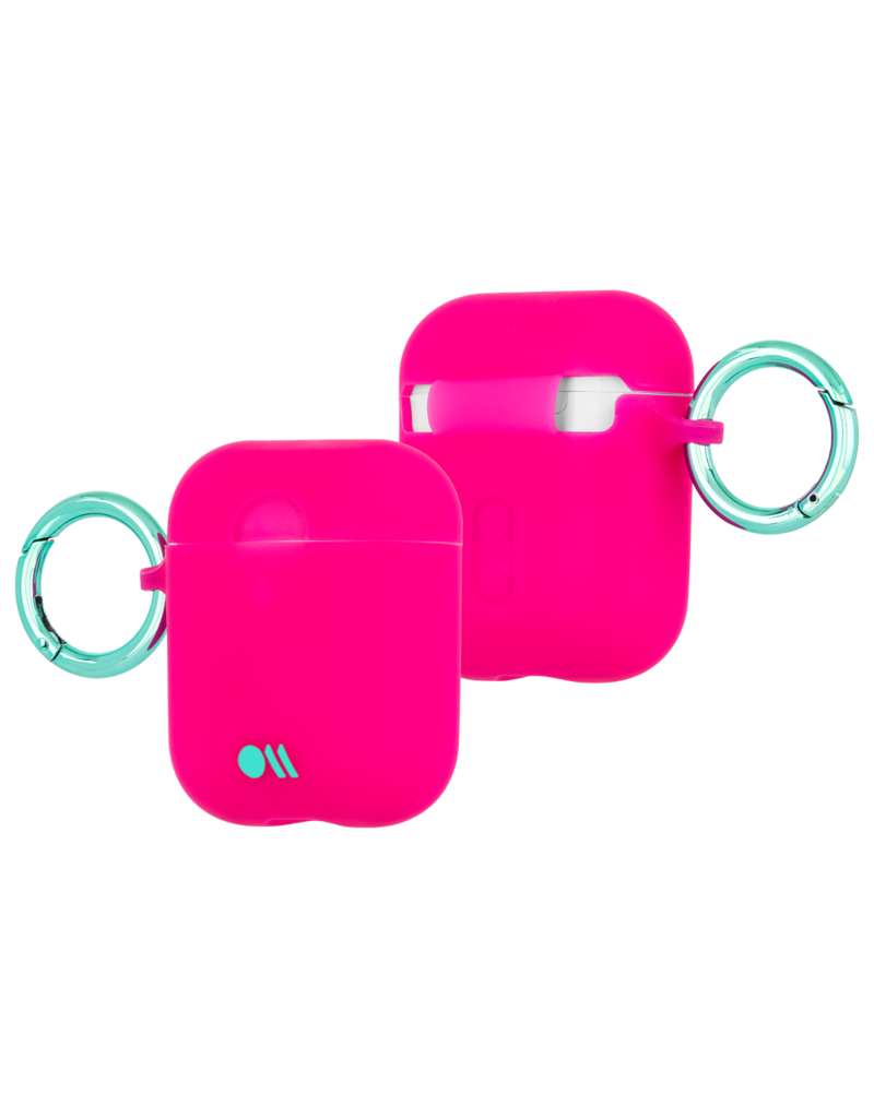 Case Mate Case Mate Hook Ups Neon Apple Airpod 1/2 Case and Neck Strap - Fuchsia