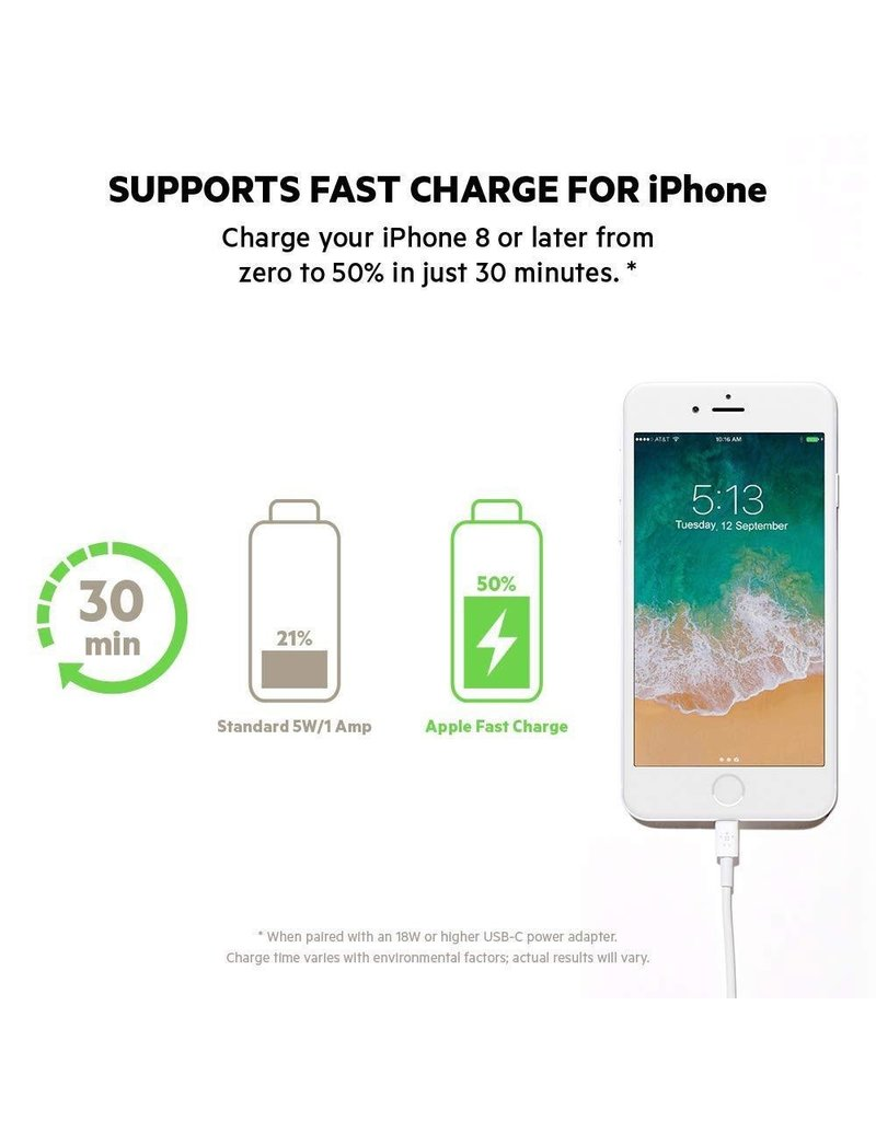 Belkin Belkin Mixit Apple Lightning to USB Type C Cable 4ft/1.2m - White