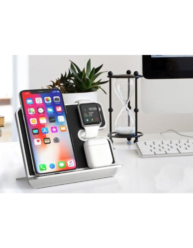 iComboStand Pro 4-in-1 Ultimate Wireless Charging Station - Silver