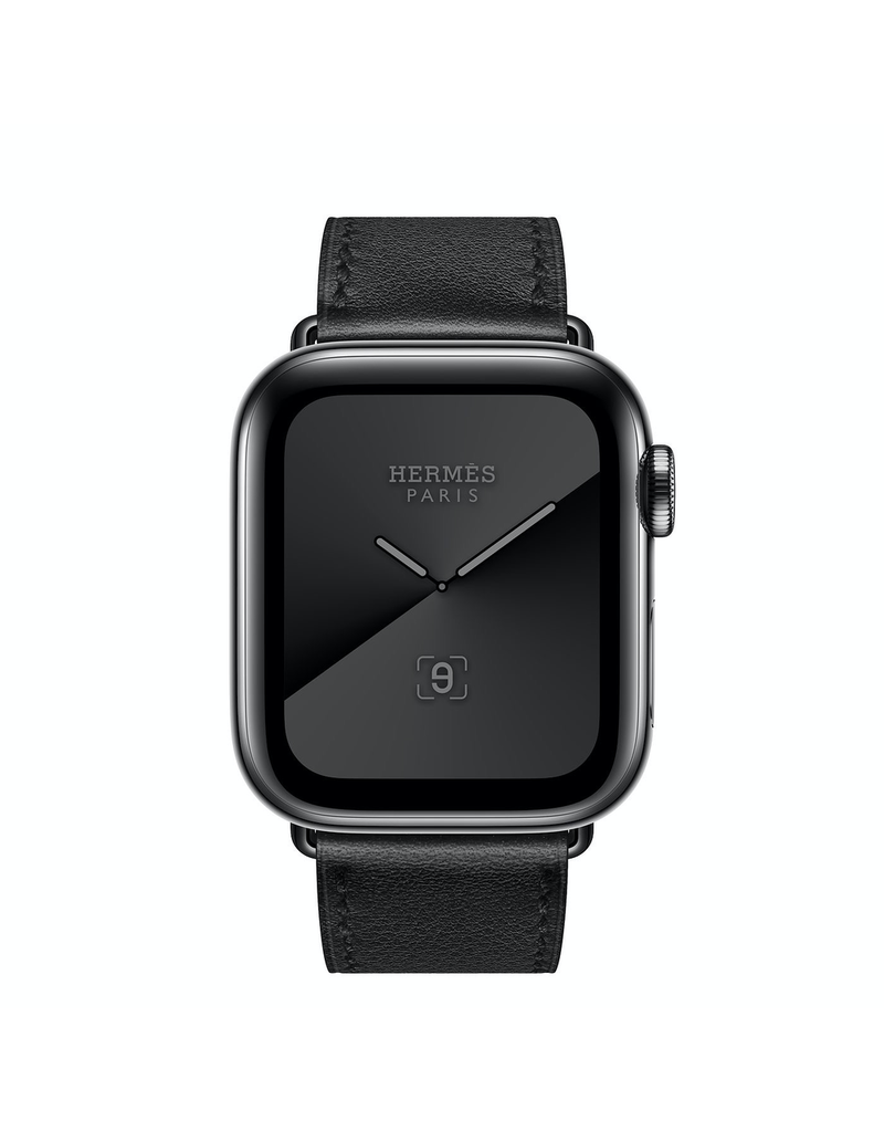 Apple Apple Watch Series 5 Hermes GPS + Cellular, 44mm Space Black Stainless Steel Case with Noir Leather Single Tour