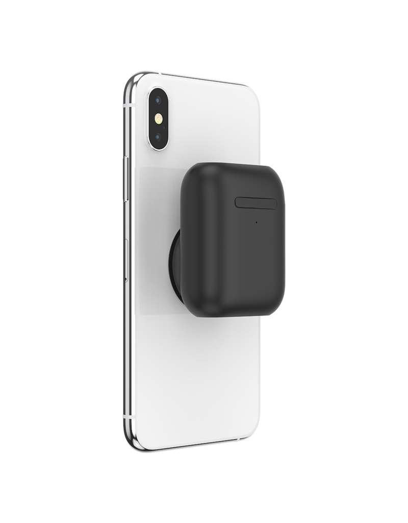 PopSockets PopSockets PopGrips Swappable AirPods Holder Device Stand and Grip - Black