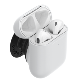 PopSockets PopSockets PopGrips Swappable AirPods Holder Device Stand and Grip - White