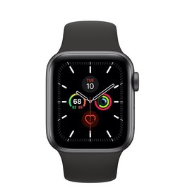 Apple Apple Watch Series 5, 44mm Aluminum Case, Black Sport Band (GPS) -  Space Gray