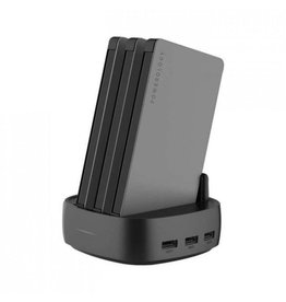 Powerology Power Station 3X-Battry 8000mAh with Built-In Cable -  Black