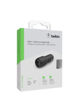 Belkin Belkin Dual Port Car Charger 30W USB-C Power Delivery 18W and USB-A 12W - Black