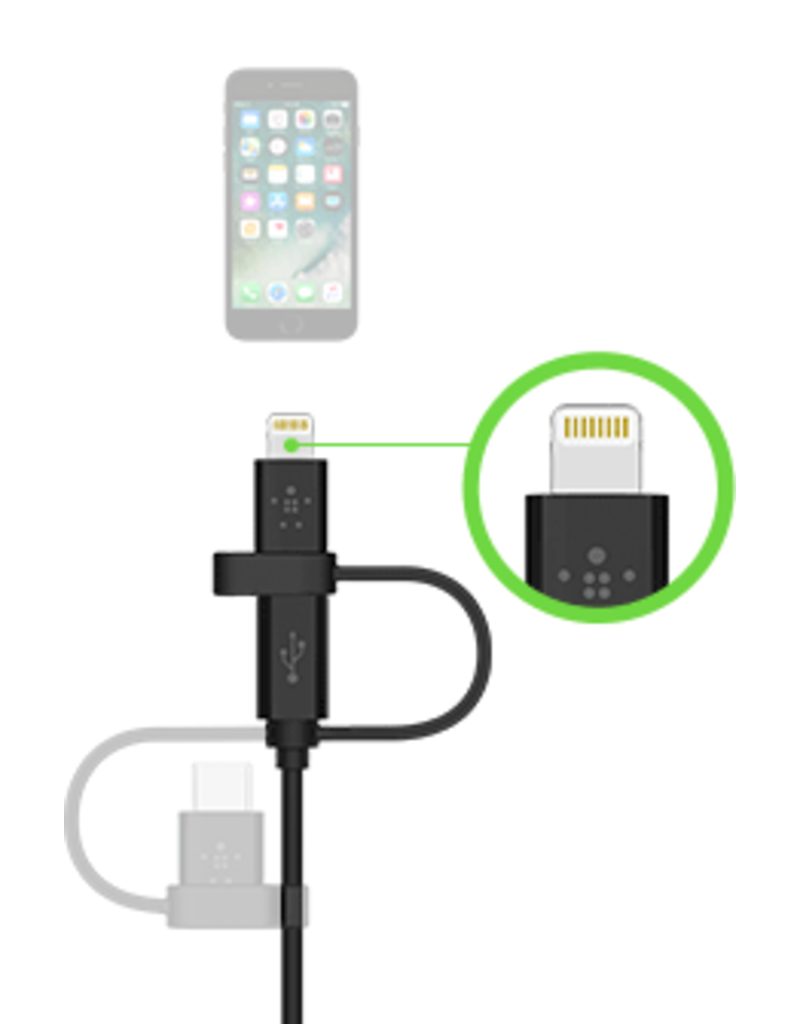 Belkin Belkin Universal Cable (3 in 1) Lightning, Micro USB and USB-C 1.2m - Black