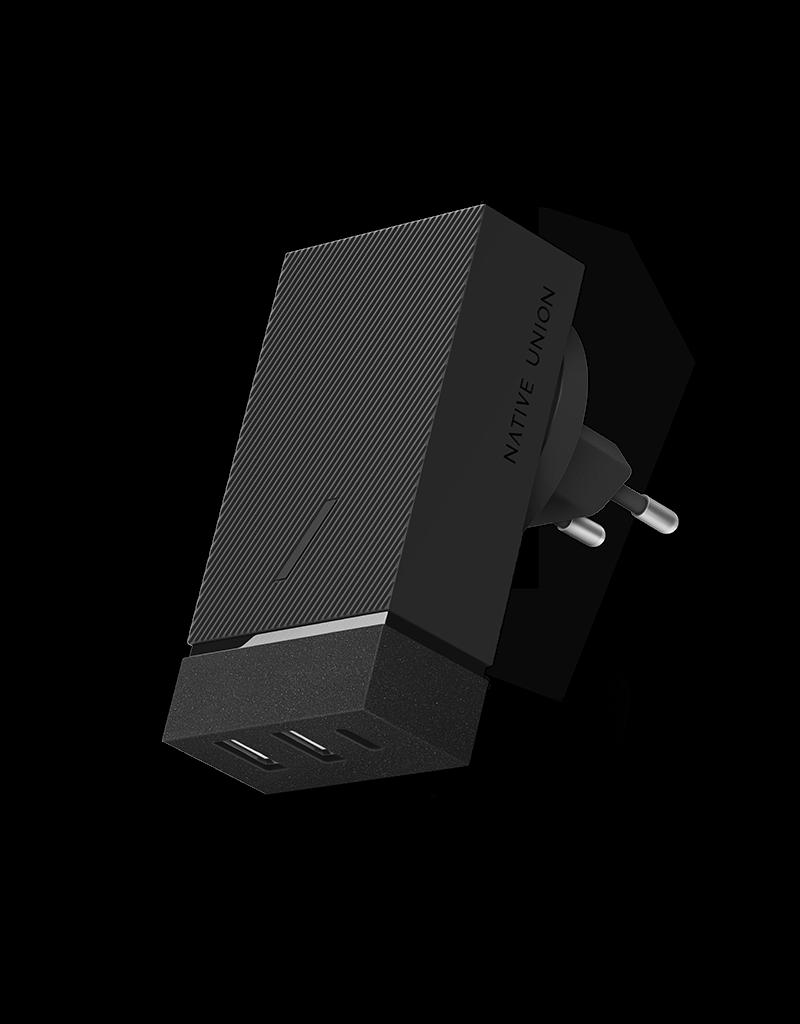 Native Union Native Union Smart Hub Wall Charger PD with International Adapters 3Port (2xUSB-A + USB-C ) 45W - Slate