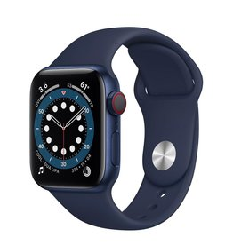 Apple Apple Watch Series 6 GPS + Cellular, 40mm Aluminum Case with Deep Navy Sport Band - Navy Blue