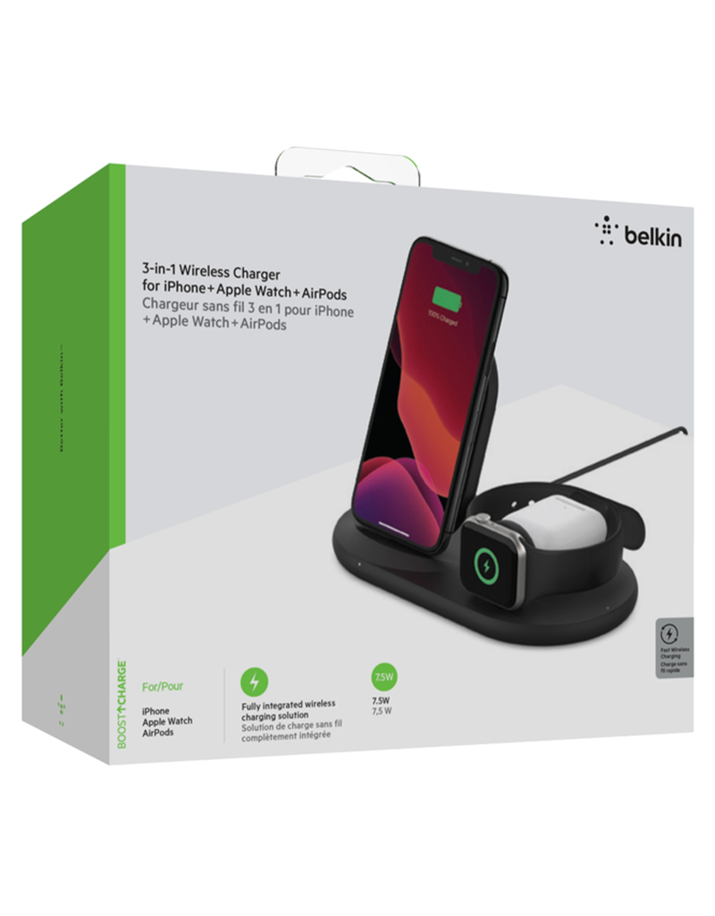 Belkin Belkin 3-in-1 Wireless Charging Pad with Apple Watch Dock - Black