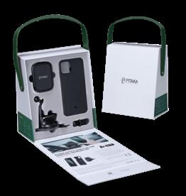 Pitaka Pitaka Aramid Karbon Fiber MagEZ Case & In-Car Wireless Charging Kit iPhone 12 Mini - Black/Grey Twill