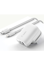 Belkin Belkin Wall Charger Dual Port 32W, 20W USB-C With Lightening, 12W USB-A UK Plug - White