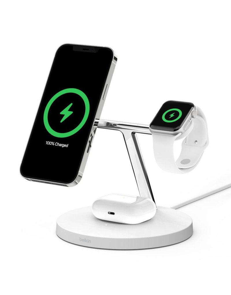 Belkin Belkin Boost Charge Pro 3-In-1 MagSafe Wireless Charging Stand - White